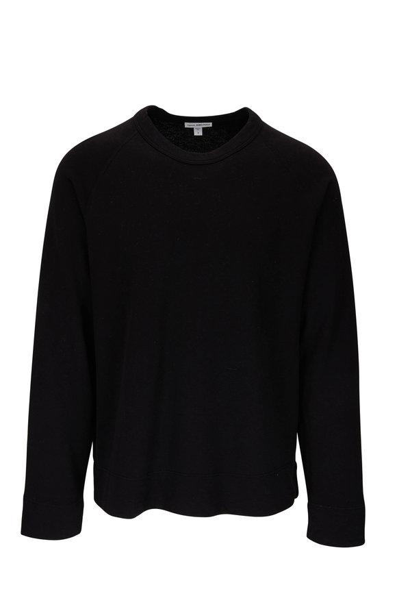 James Perse Black Raglan Sleeve Pullover Sweatshirt