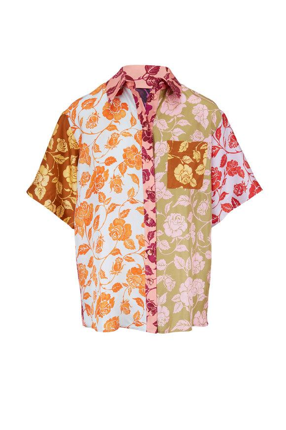 Zimmermann The Lovestruck Mixed Roses Spliced Shirt