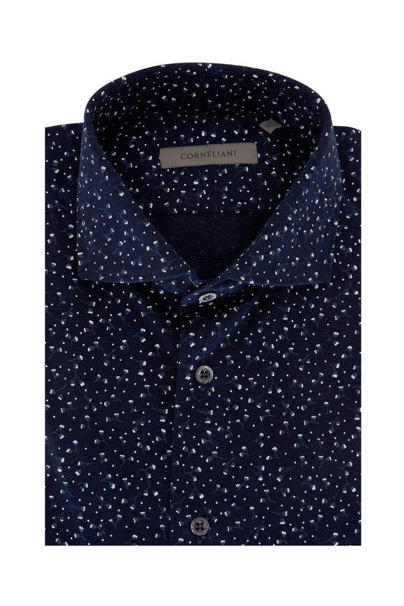 Corneliani Navy Blue Piqué Pattern Performance Sport Shirt