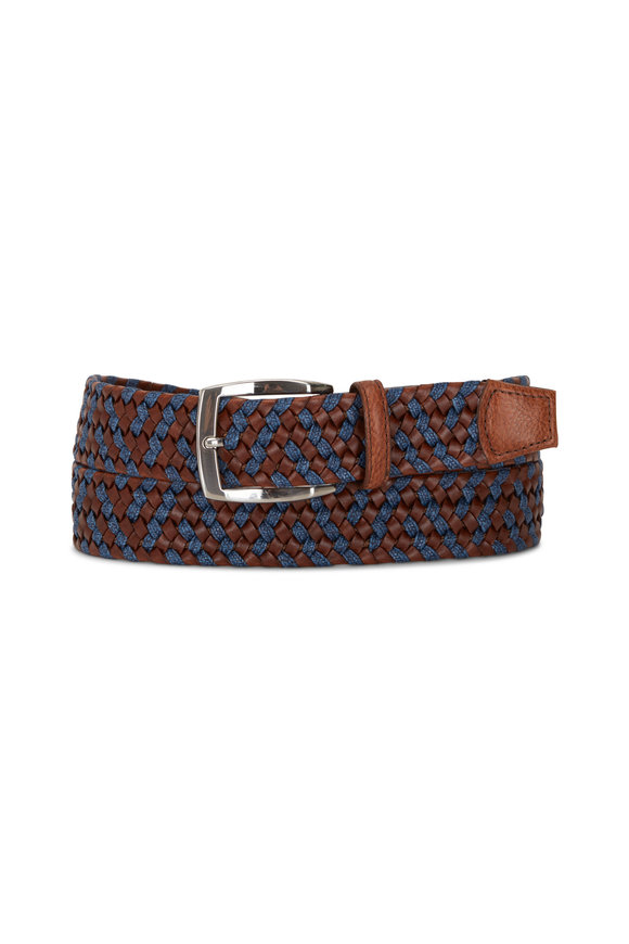 Torino Brown & Navy Leather Braided Belt