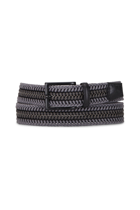 Torino Grey & Black Leather Braided Belt