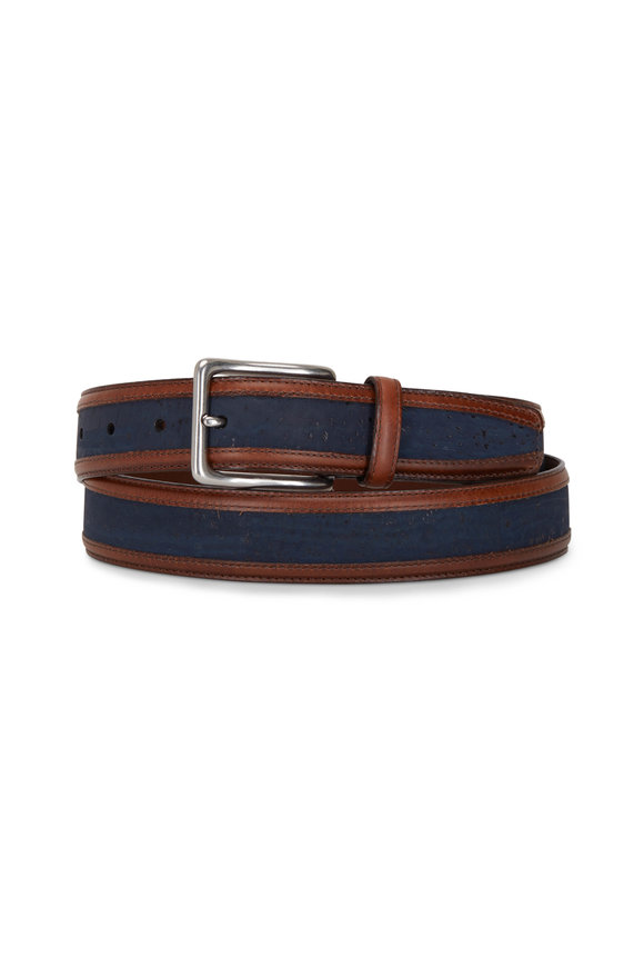 Torino Navy Blue Cork & Waxhide Leather Trim Belt