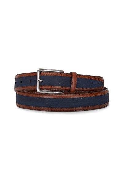 Torino - Navy Blue Cork & Waxhide Leather Trim Belt