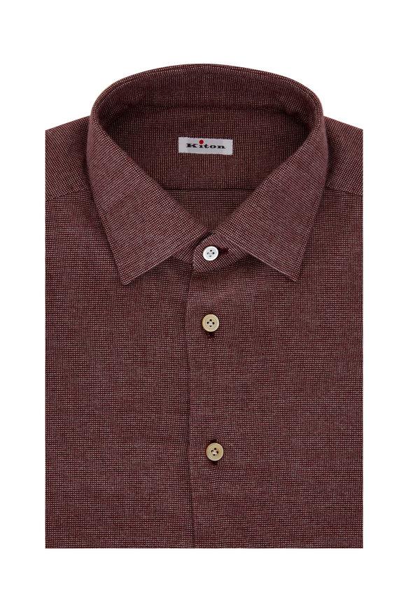 Kiton Burlap Mini Tic Dress Shirt