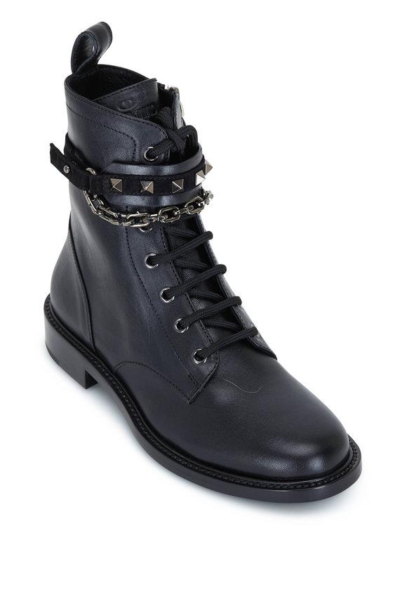 Valentino Garavani Black Combat Boots with Stud & Chain Straps