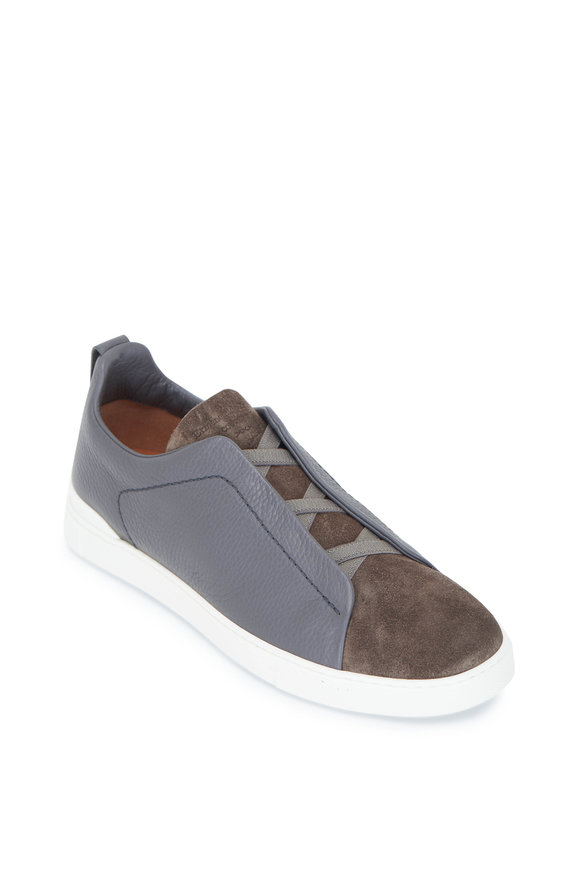 Ermenegildo Zegna Grey & Olive Triple Stitch Leather & Suede Sneaker