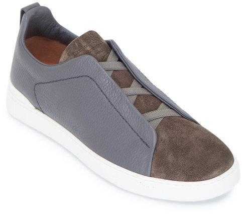 Ermenegildo Zegna Grey & Olive Triple Stitch Leather & Suede Sneaker
