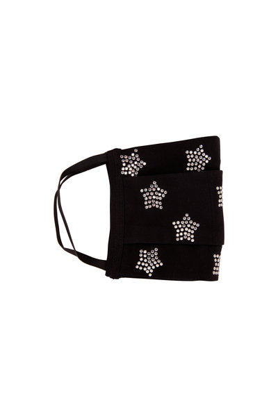 Carolyn Rowan - Black Cotton Scattered Crystal Stars Mask