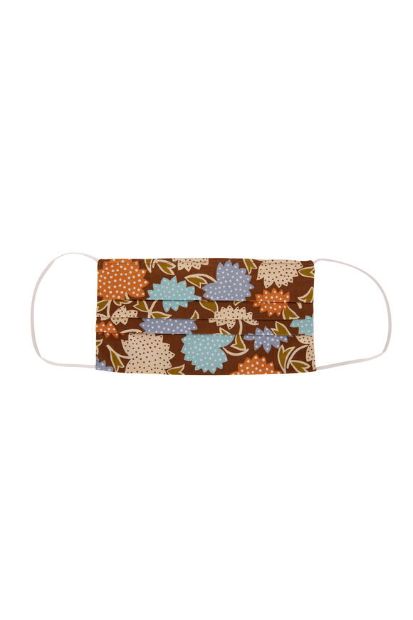 Made by Hand Brown, Aqua & Orange Floral Mask