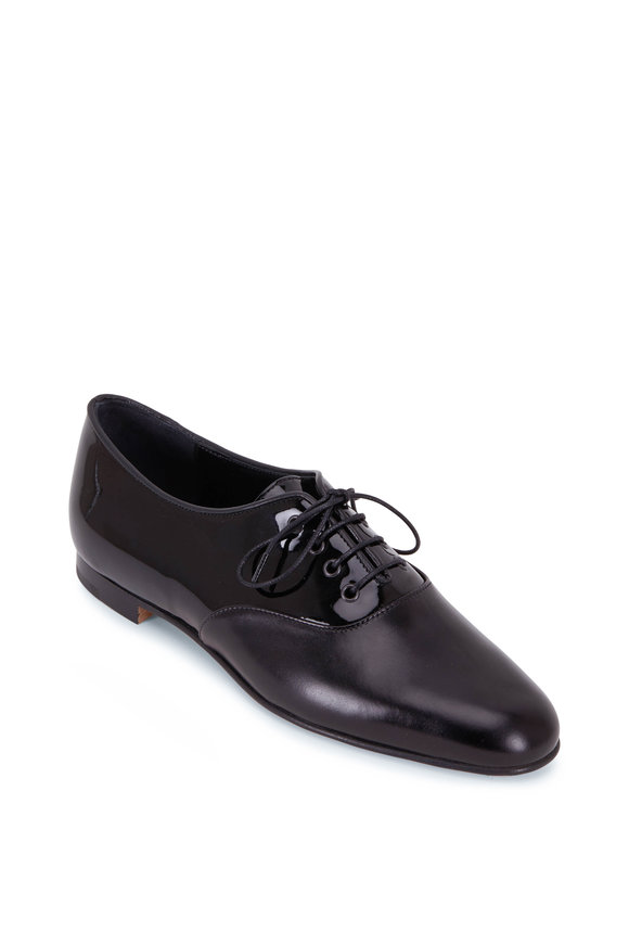 Manolo Blahnik Pruneta Black Patent Leather Oxford Loafers