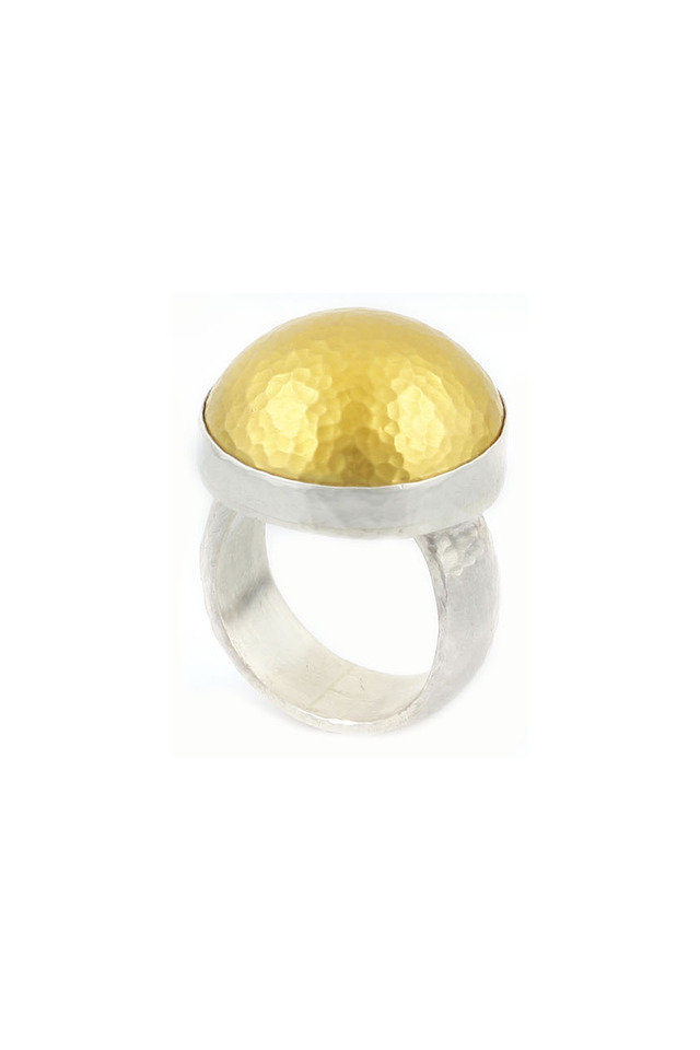 Hammered Gold & Silver Dome Ring
