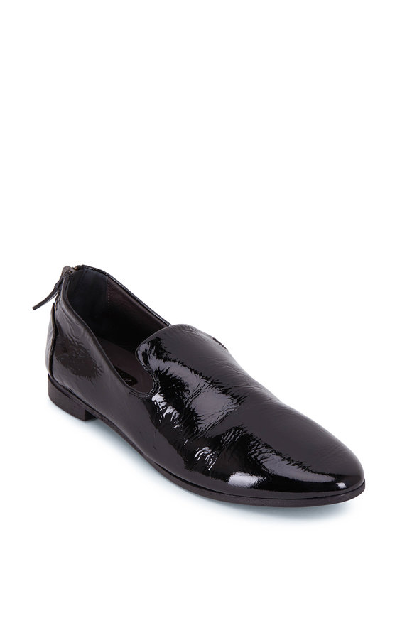 Marsell Black Patent Leather Back Zip Pointed Slipper