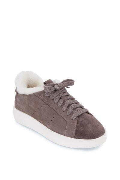 Santoni - Tia Grey Suede Shearling Lined Sneaker