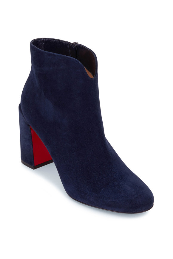 Christian Louboutin Castarika Navy Suede Bootie, 85mm