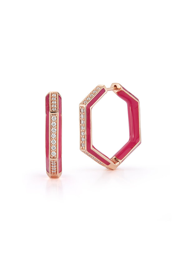 Katherine Jetter Limited Edition Neon Pink Hexagon Earrings