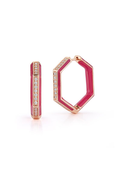 Katherine Jetter - Limited Edition Neon Pink Hexagon Earrings