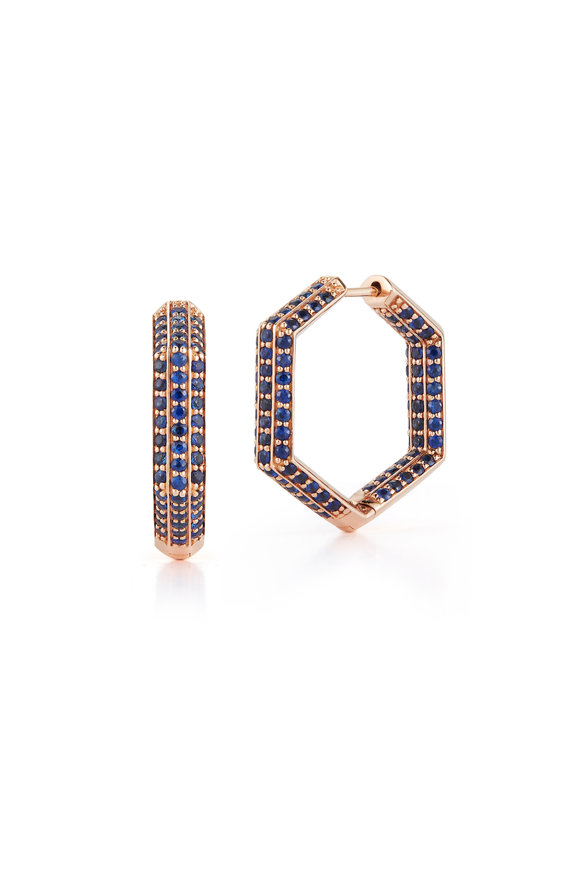 Katherine Jetter 18K Rose Gold Blue Sapphire Hexagon Earrings