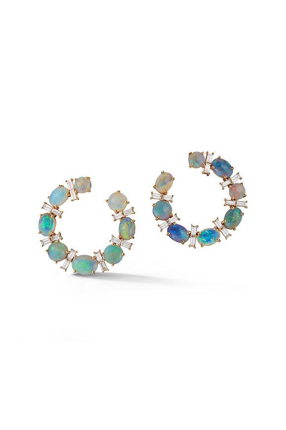 Katherine Jetter Black Opal & Diamond Hoop Earrings