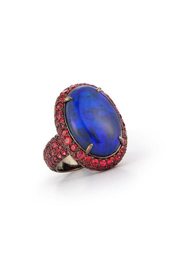 Katherine Jetter Black Opal & Red Spinel Cocktail Ring