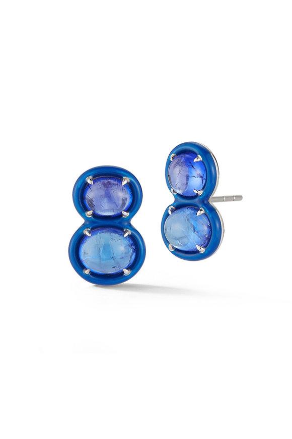 Katherine Jetter 18K White Gold Tumbled Tanzanite Stud Earrings