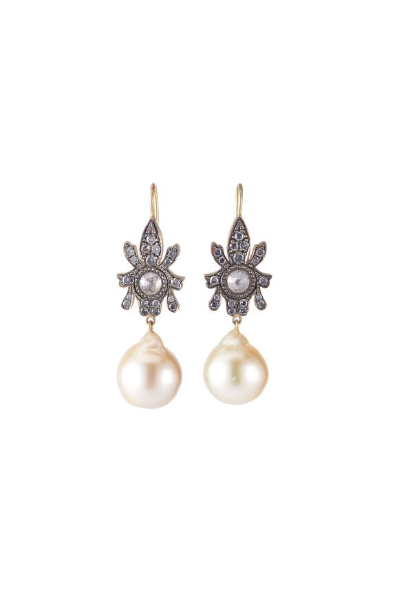 Sylva & Cie 18K Yellow Gold South Sea Pearl & Diamond Earrings