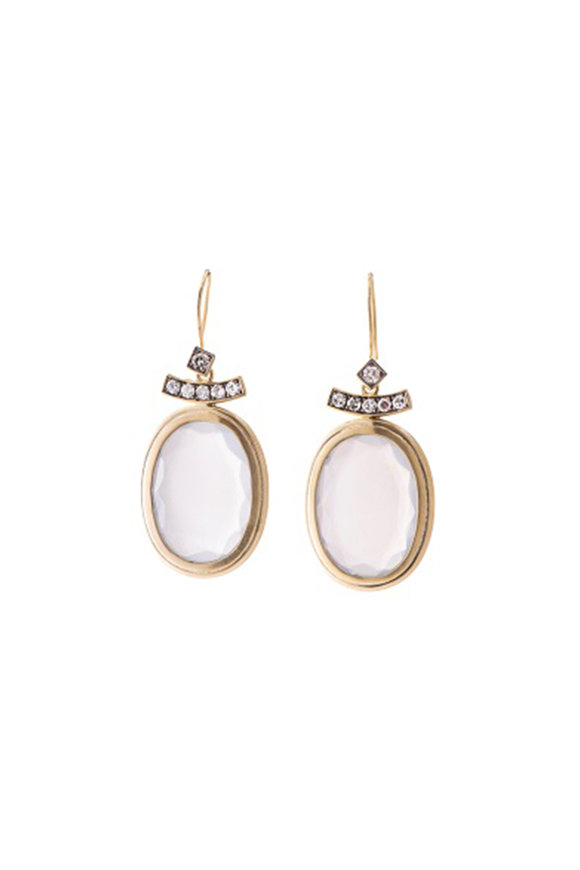 Sylva & Cie 18K Yellow Gold Gray Moonstone Pagoda Earrings