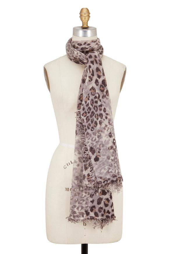 Kinross Suede Multi Leopard Print Cashmere Scarf