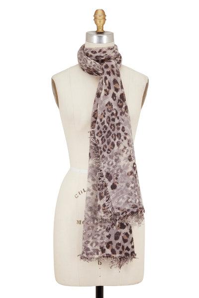 Kinross - Suede Multi Leopard Print Cashmere Scarf