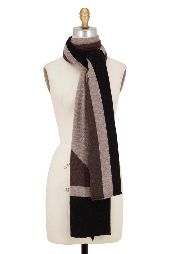 Kinross Black Multi Cashmere Intarsia Travel Wrap