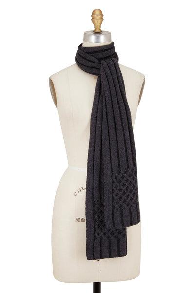 Kinross - Charcoal & Black Cashmere Plaited Scarf
