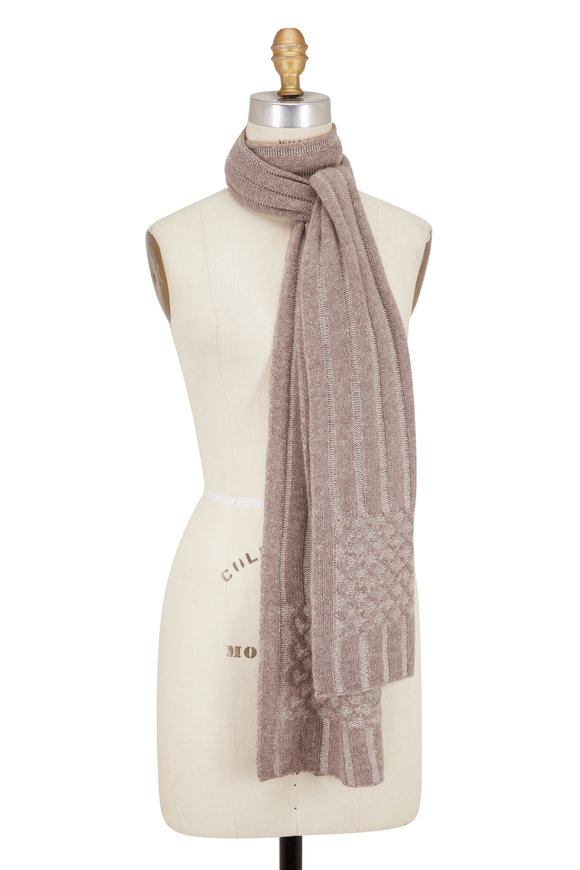 Kinross Suede Cashmere Plaited Scarf