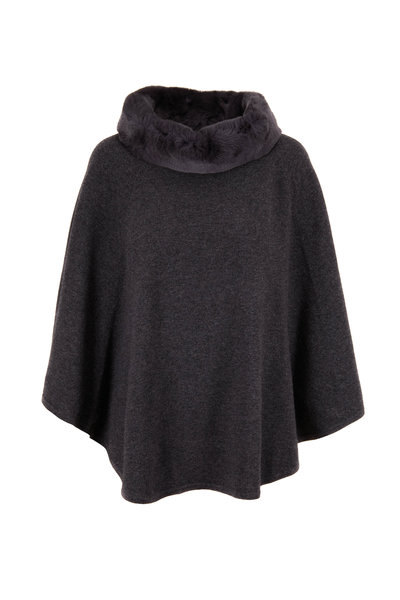 Kinross - Charcoal Grey Fur Trim Pullover Poncho