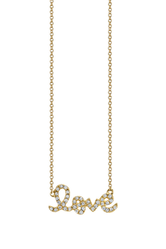 "Sydney Evan 18K Yellow Gold Script ""Love"" Necklace"