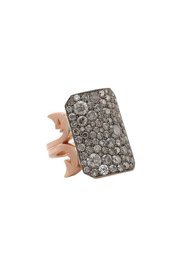 Sylva & Cie 14K Gold & Silver Gray Diamond Ten Table Ring
