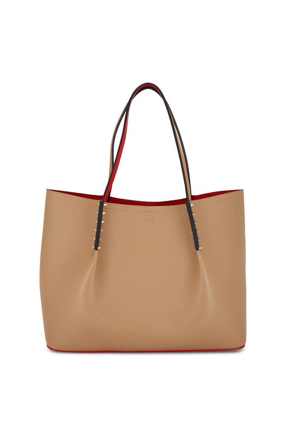 Christian Louboutin Cabarock Taupe Leather Large Tote Bag