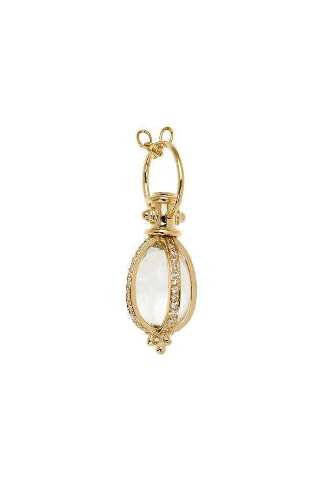 18K Yellow Gold Crystal & Pavé Diamond Amulet