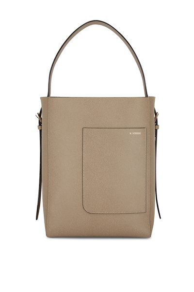 Valextra - Taupe Pebbled Leather Top Handle Bucket Bag