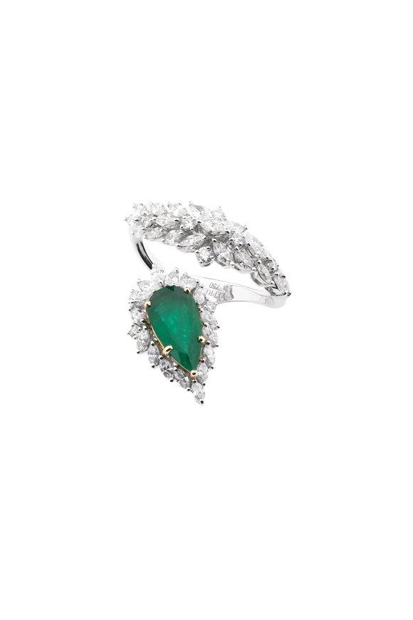Yeprem 18K White Gold Emerald & Diamond Ring