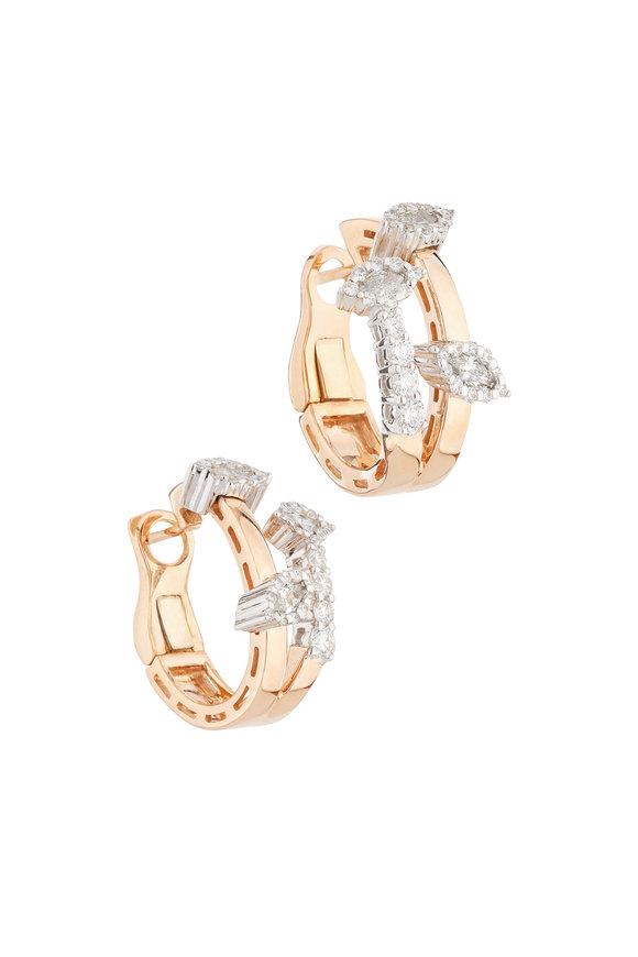 Yeprem 18K Rose Gold Diamond Huggies