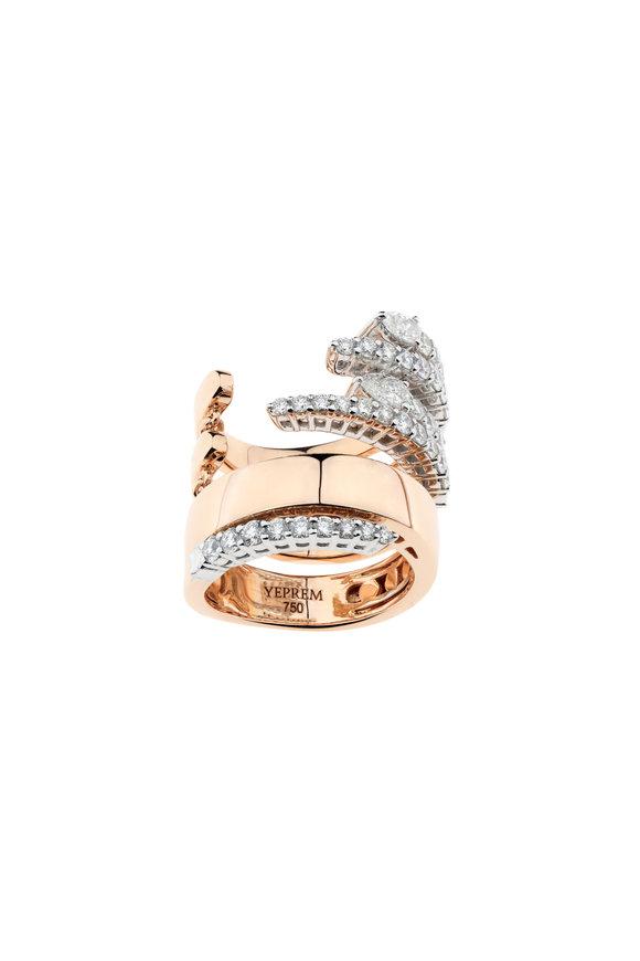 Yeprem 18K Rose Gold Multi Row Diamond Ring