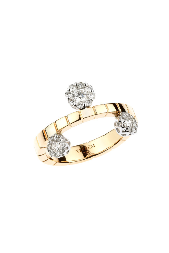 Yeprem 18K Rose Gold Three Diamond Cluster Ring