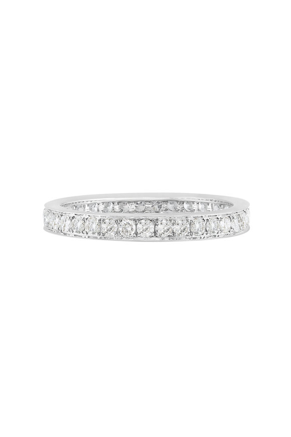 Nam Cho 18K White Gold Single Row Pavé Modern Band