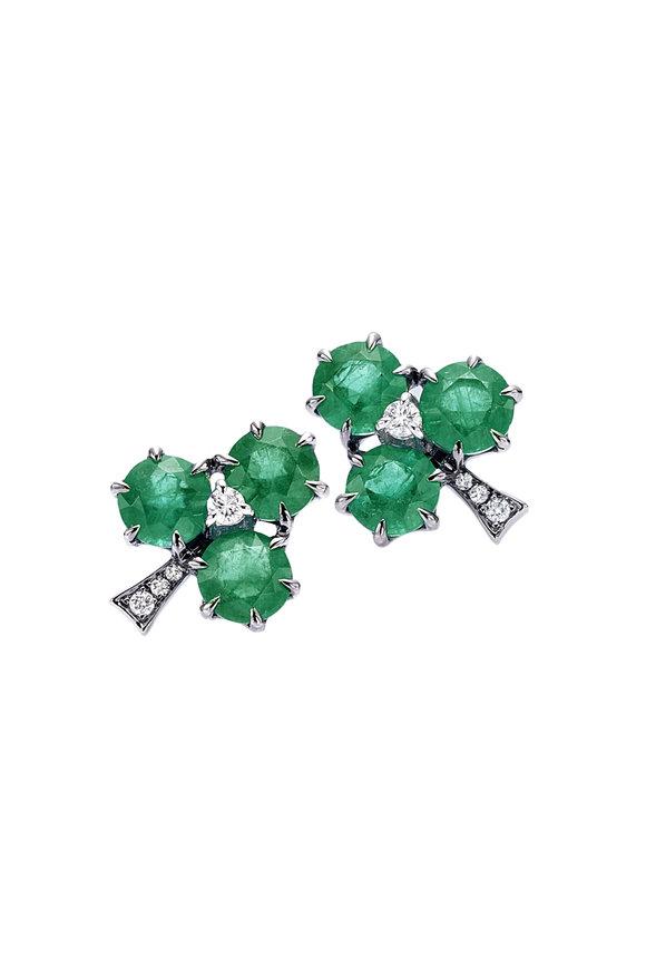 Nam Cho 18K White Gold Emerald Clover Studs