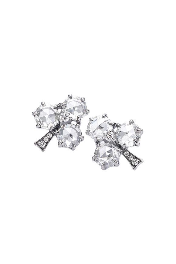 Nam Cho 18K White Gold Diamond Clover Studs