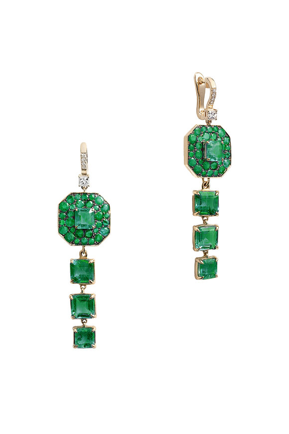 Nam Cho 18K White Gold Diamond & Emerald Drop Earrings
