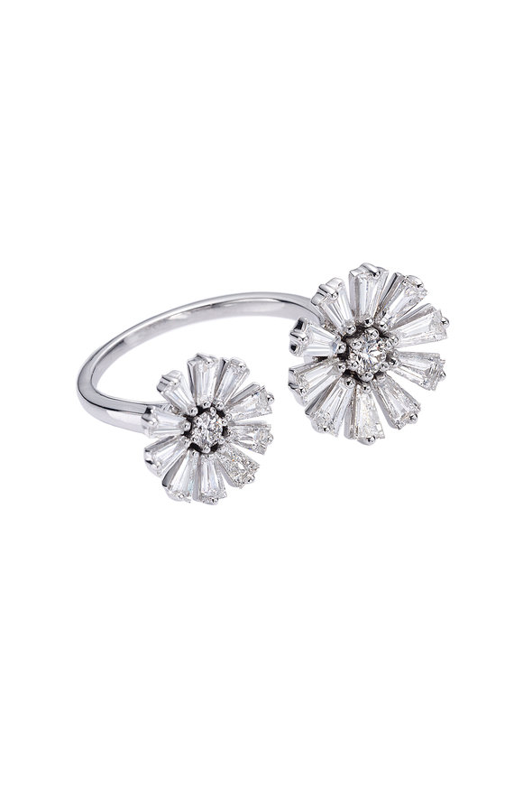 Nam Cho 18K White Gold Baguette Double Flower Ring