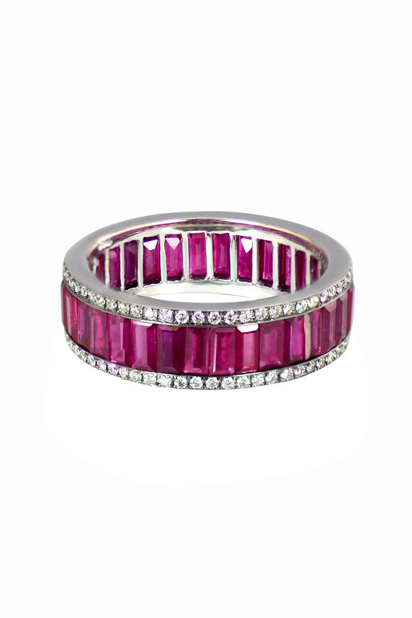 Nam Cho 18K White Gold Baguette Ruby Eternity Band