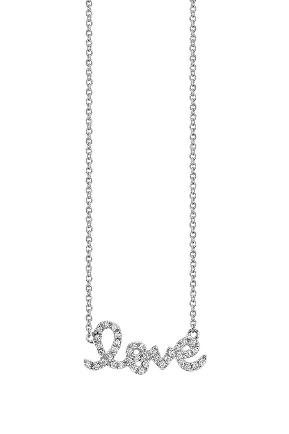 "Sydney Evan 18K White Gold Script ""Love"" Necklace"