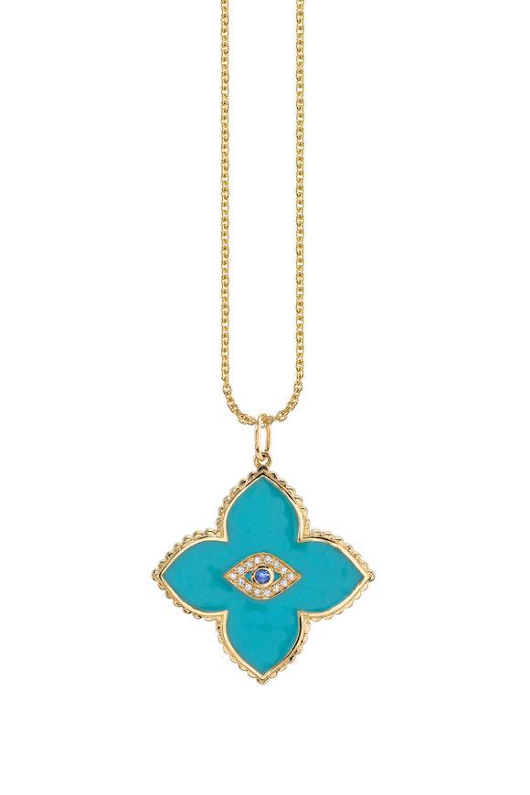 Sydney Evan 18K Yellow Gold Moroccan Enamel Evil Eye Necklace