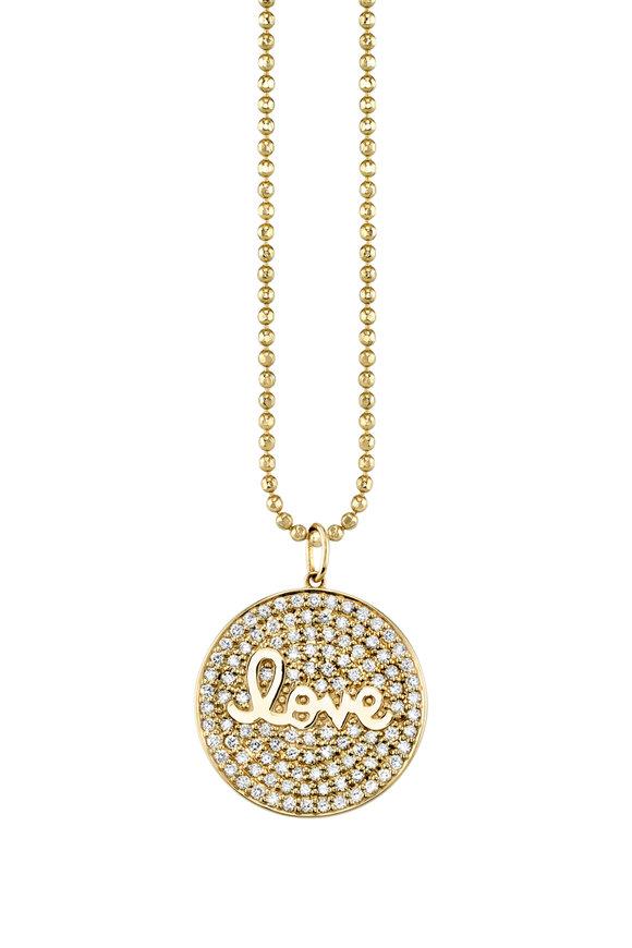 Sydney Evan 18K Yellow Gold Pavé Love Medallion Charm Necklace